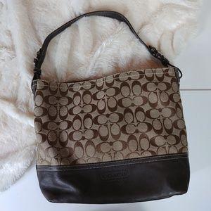 Coach Brown Tan Canvas Leather Hobo Handbag